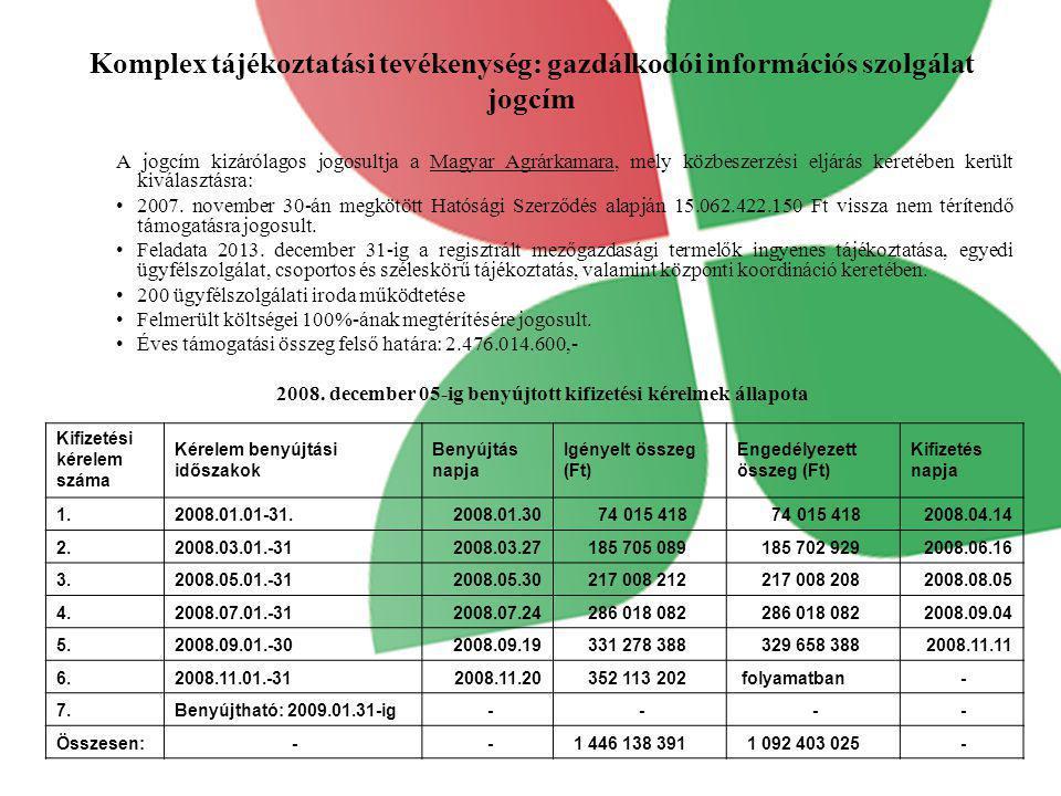 Komplex tájékoztatási tevékenység: gazdálkodói információs szolgálat jogcím A jogcím kizárólagos jogosultja a Magyar Agrárkamara, mely közbeszerzési e
