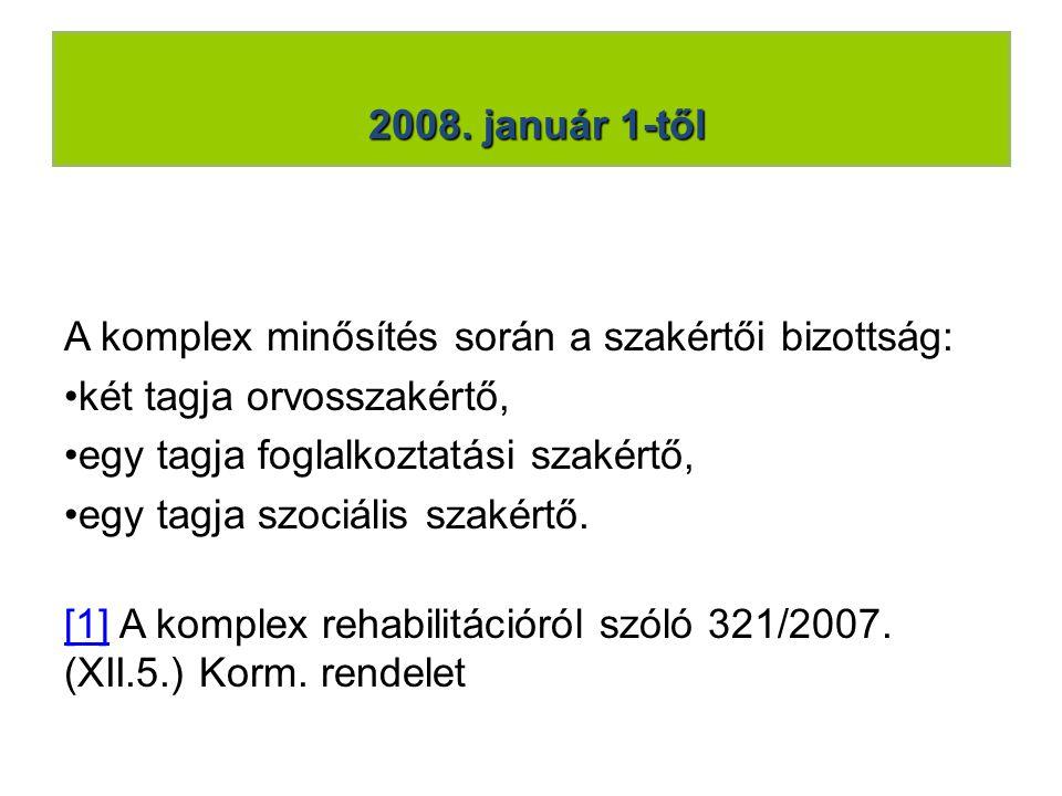 2008. január 1-től A komplex minősítés során a szakértői bizottság: •két tagja orvosszakértő, •egy tagja foglalkoztatási szakértő, •egy tagja szociáli