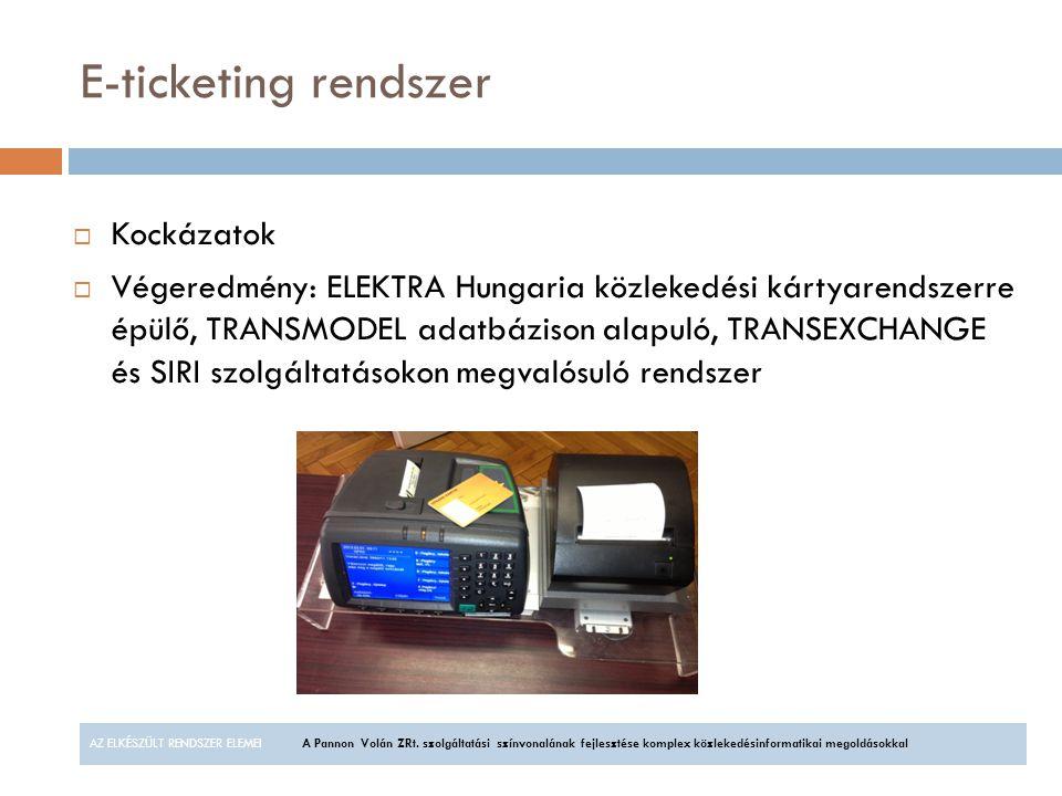 E-ticketing rendszer AZ ELKÉSZÜLT RENDSZER ELEMEIA Pannon Volán ZRt. szolgáltatási színvonalának fejlesztése komplex közlekedésinformatikai megoldások