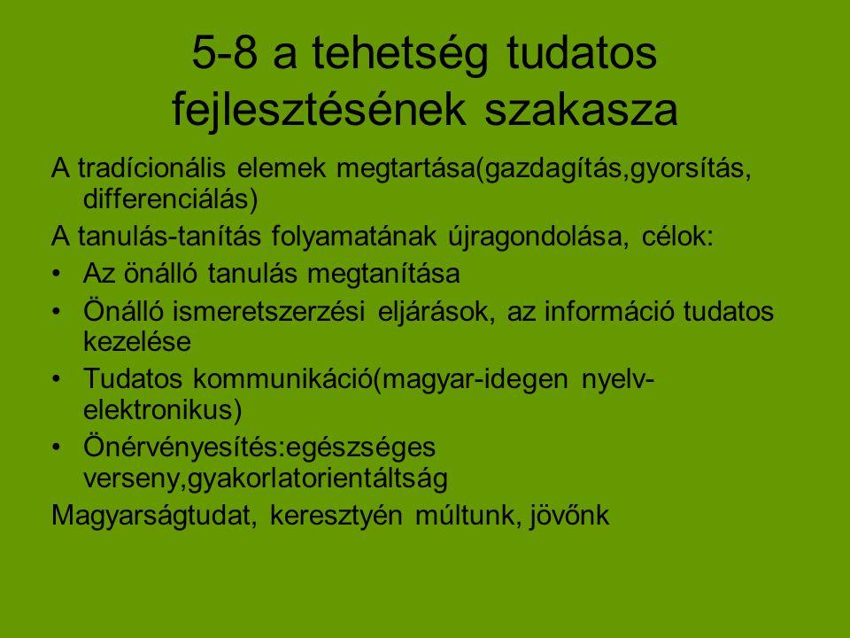 5-8 a tehetség tudatos fejlesztésének szakasza A tradícionális elemek megtartása(gazdagítás,gyorsítás, differenciálás) A tanulás-tanítás folyamatának