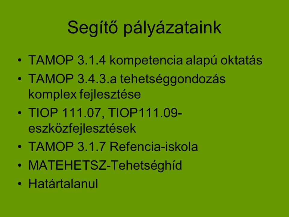 Segítő pályázataink •TAMOP 3.1.4 kompetencia alapú oktatás •TAMOP 3.4.3.a tehetséggondozás komplex fejlesztése •TIOP 111.07, TIOP111.09- eszközfejlesz