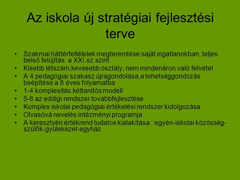 Az iskola új stratégiai fejlesztési terve •Szakmai háttérfeltételek megteremtése:saját ingatlanokban, teljes belső felújítás: a XXI.sz.szint •Kisebb l