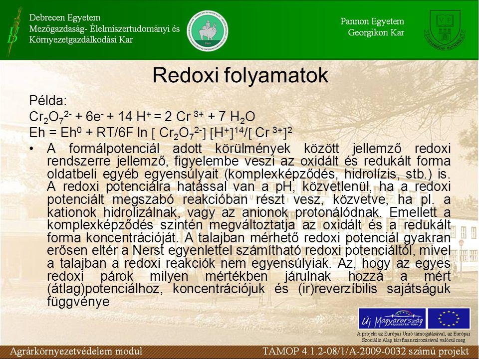 Példa: Cr 2 O 7 2- + 6e - + 14 H + = 2 Cr 3+ + 7 H 2 O Eh = Eh 0 + RT/6F ln  Cr 2 O 7 2-   H +  14 /  Cr 3+  2 •A formálpotenciál adott körülmények között jellemző redoxi rendszerre jellemző, figyelembe veszi az oxidált és redukált forma oldatbeli egyéb egyensúlyait (komplexképződés, hidrolízis, stb.) is.