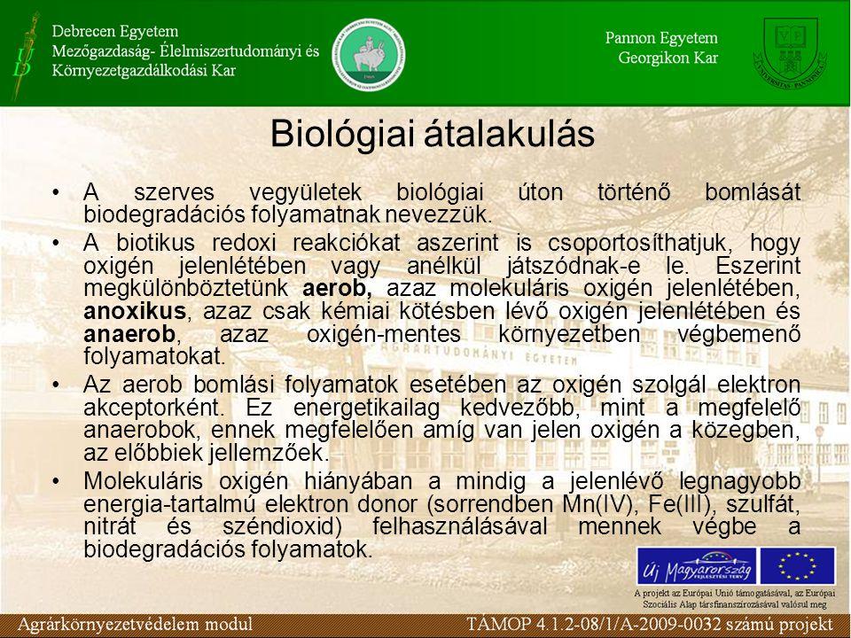 •A szerves vegyületek biológiai úton történő bomlását biodegradációs folyamatnak nevezzük.