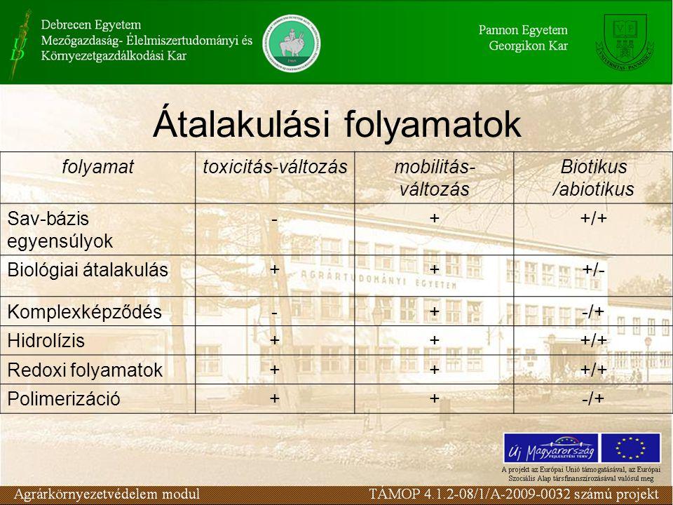 Átalakulási folyamatok folyamattoxicitás-változásmobilitás- változás Biotikus /abiotikus Sav-bázis egyensúlyok -++/+ Biológiai átalakulás+++/- Komplexképződés-+-/+ Hidrolízis+++/+ Redoxi folyamatok+++/+ Polimerizáció++-/+
