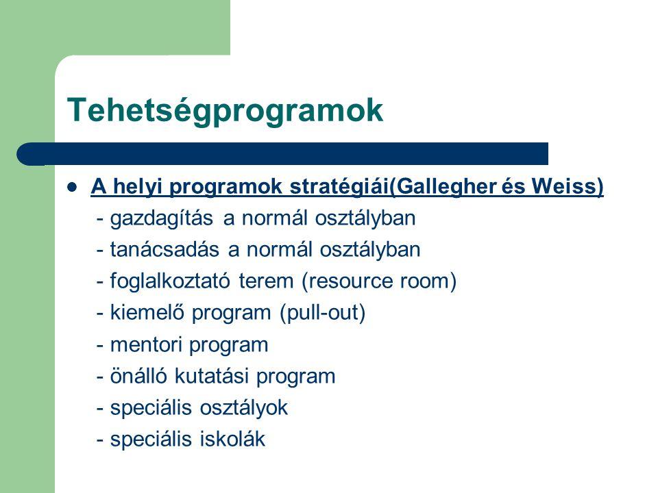 Tehetségprogramok  A helyi programok stratégiái(Gallegher és Weiss) - gazdagítás a normál osztályban - tanácsadás a normál osztályban - foglalkoztató