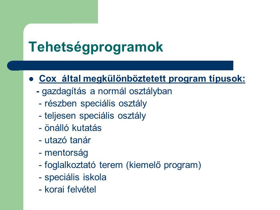 Tehetségprogramok  Cox által megkülönböztetett program típusok: - gazdagítás a normál osztályban - részben speciális osztály - teljesen speciális osz