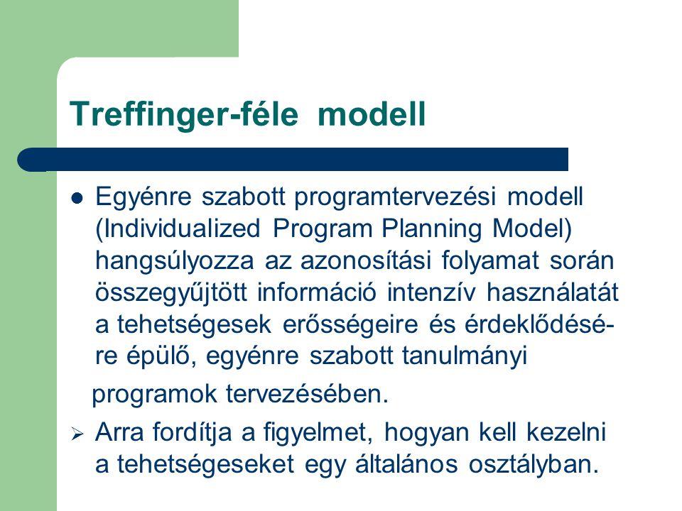 Treffinger-féle modell  Egyénre szabott programtervezési modell (Individualized Program Planning Model) hangsúlyozza az azonosítási folyamat során ös