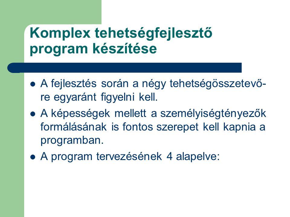 Komplex tehetségfejlesztő program készítése  A fejlesztés során a négy tehetségösszetevő- re egyaránt figyelni kell.  A képességek mellett a személy