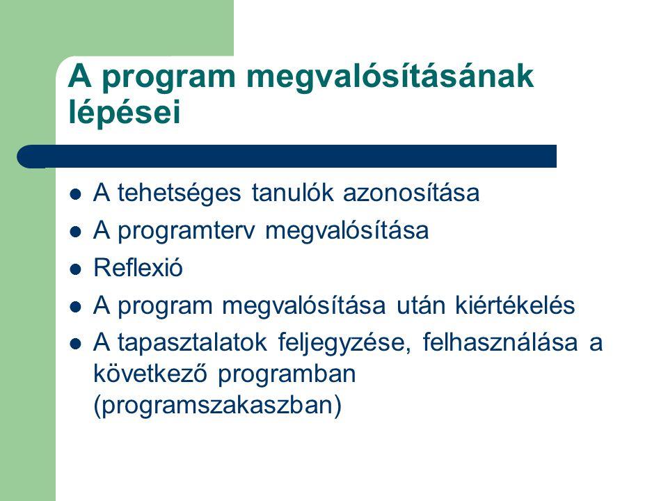 A program megvalósításának lépései  A tehetséges tanulók azonosítása  A programterv megvalósítása  Reflexió  A program megvalósítása után kiértéke