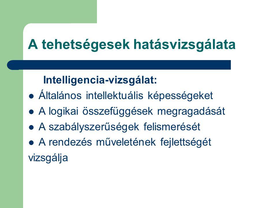 A tehetségesek hatásvizsgálata Intelligencia-vizsgálat:  Általános intellektuális képességeket  A logikai összefüggések megragadását  A szabályszer