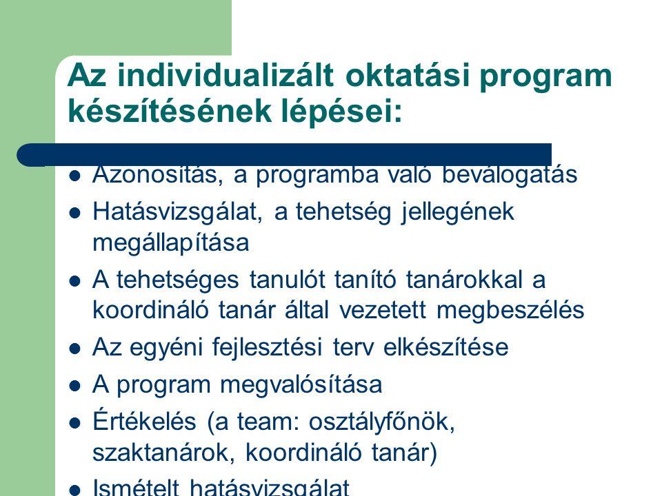 Az individualizált oktatási program készítésének lépései:  Azonosítás, a programba való beválogatás  Hatásvizsgálat, a tehetség jellegének megállapí