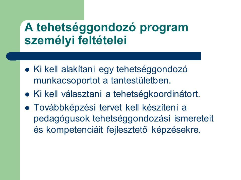 A tehetséggondozó program személyi feltételei  Ki kell alakítani egy tehetséggondozó munkacsoportot a tantestületben.  Ki kell választani a tehetség