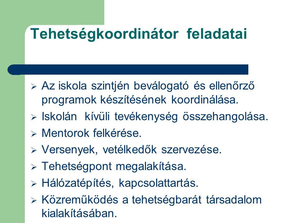 Tehetségkoordinátor feladatai  Az iskola szintjén beválogató és ellenőrző programok készítésének koordinálása.  Iskolán kívüli tevékenység összehang