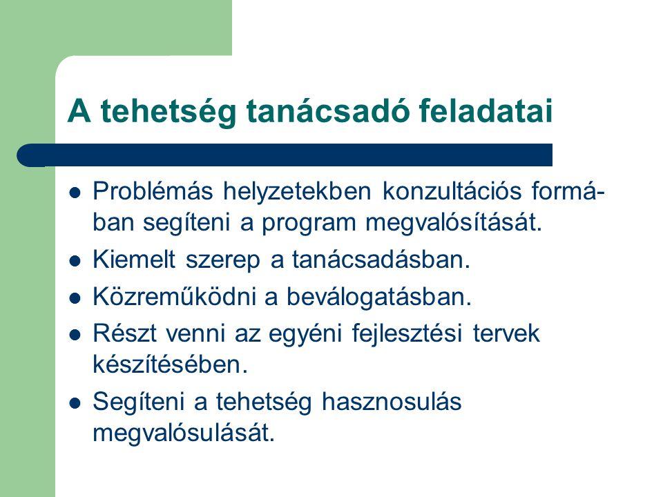 A tehetség tanácsadó feladatai  Problémás helyzetekben konzultációs formá- ban segíteni a program megvalósítását.  Kiemelt szerep a tanácsadásban. 