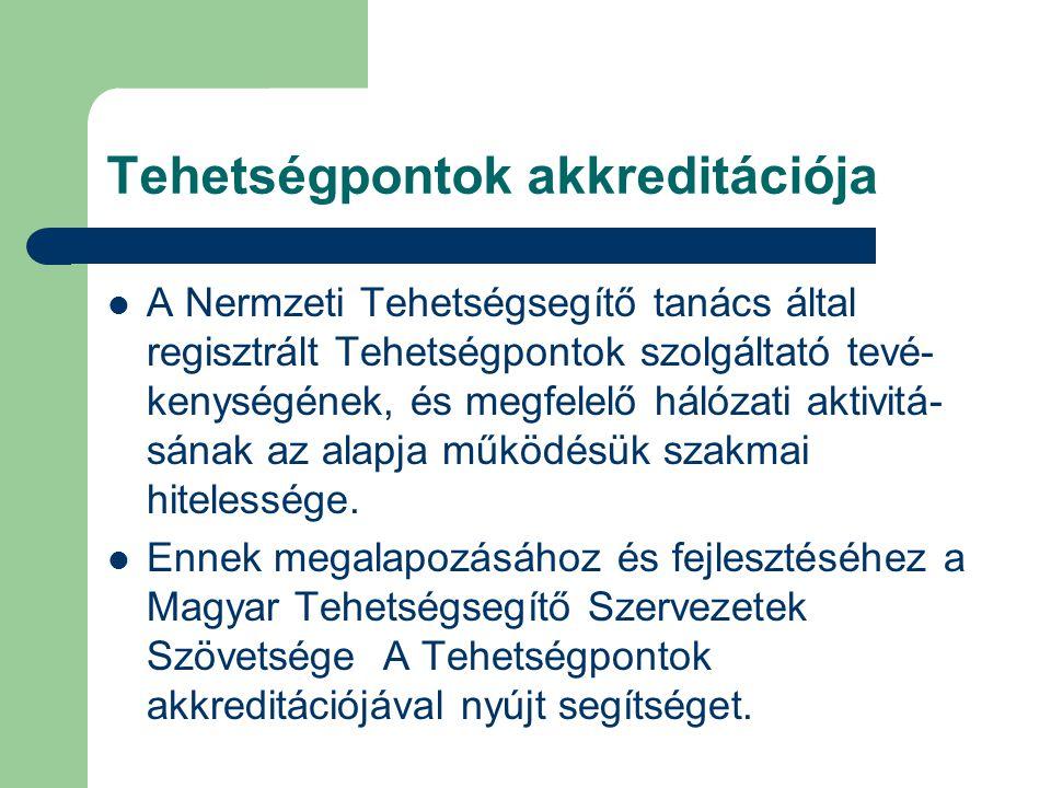 Tehetségpontok akkreditációja  A Nermzeti Tehetségsegítő tanács által regisztrált Tehetségpontok szolgáltató tevé- kenységének, és megfelelő hálózati