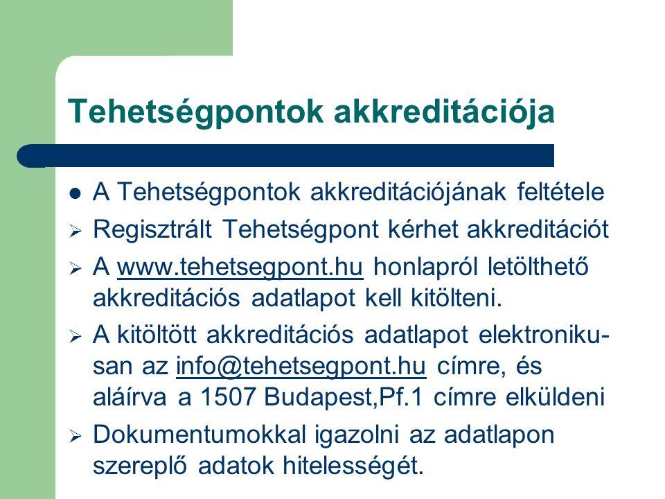 Tehetségpontok akkreditációja  A Tehetségpontok akkreditációjának feltétele  Regisztrált Tehetségpont kérhet akkreditációt  A www.tehetsegpont.hu h