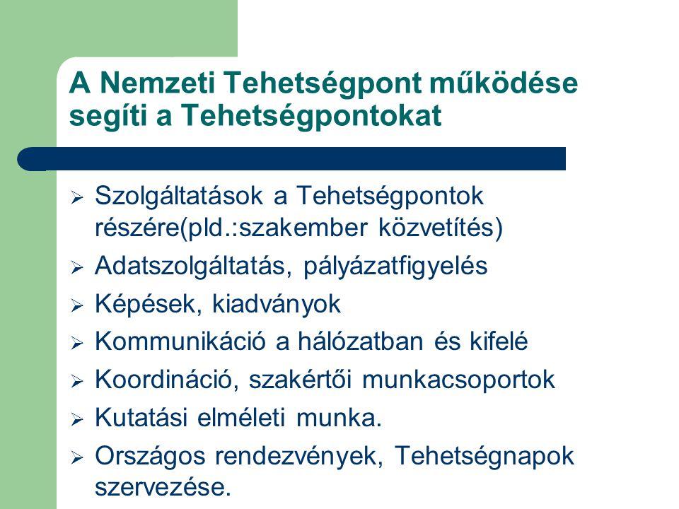 A Nemzeti Tehetségpont működése segíti a Tehetségpontokat  Szolgáltatások a Tehetségpontok részére(pld.:szakember közvetítés)  Adatszolgáltatás, pál