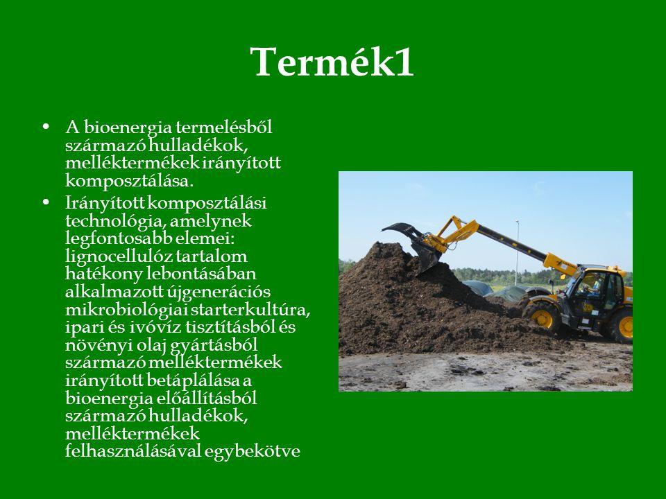 Termék1 •A bioenergia termelésből származó hulladékok, melléktermékek irányított komposztálása.