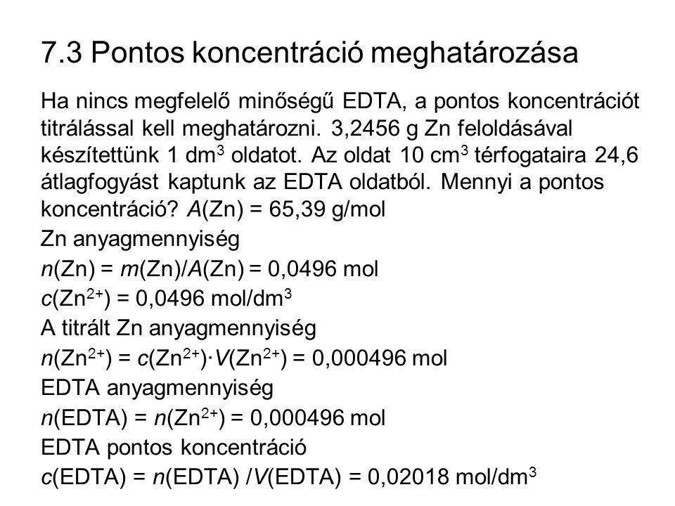 7.3 Pontos koncentráció meghatározása Ha nincs megfelelő minőségű EDTA, a pontos koncentrációt titrálással kell meghatározni. 3,2456 g Zn feloldásával
