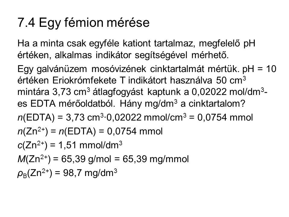 7.4 Egy fémion mérése Ha a minta csak egyféle kationt tartalmaz, megfelelő pH értéken, alkalmas indikátor segítségével mérhető. Egy galvánüzem mosóviz