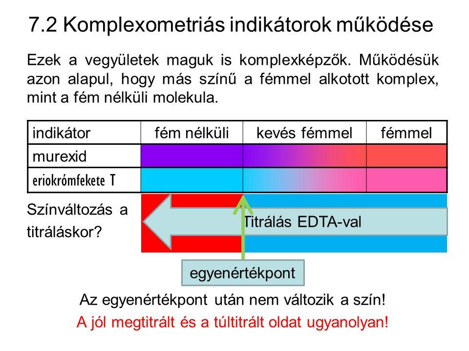 7.2 Komplexometriás indikátorok használata Problémák 1.