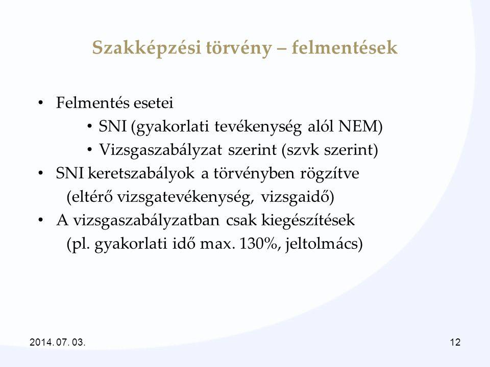 Szakképzési törvény – felmentések • Felmentés esetei • SNI (gyakorlati tevékenység alól NEM) • Vizsgaszabályzat szerint (szvk szerint) • SNI keretszab