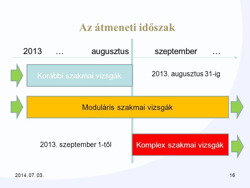 Az átmeneti időszak 2013 … augusztus szeptember … Komplex szakmai vizsgák Korábbi szakmai vizsgák Moduláris szakmai vizsgák 2013. augusztus 31-ig 2013