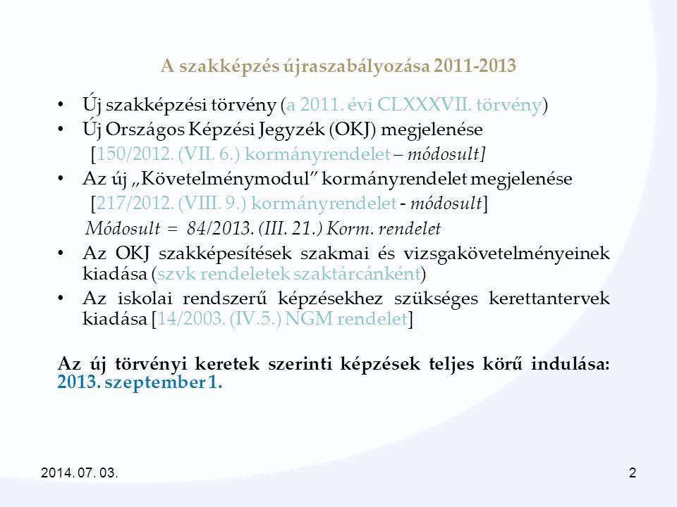 A szakképzés újraszabályozása 2011-2013 • Új szakképzési törvény (a 2011. évi CLXXXVII. törvény) • Új Országos Képzési Jegyzék (OKJ) megjelenése [150/