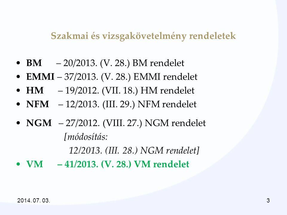 Szakmai és vizsgakövetelmény rendeletek •BM – 20/2013. (V. 28.) BM rendelet •EMMI – 37/2013. (V. 28.) EMMI rendelet •HM – 19/2012. (VII. 18.) HM rende