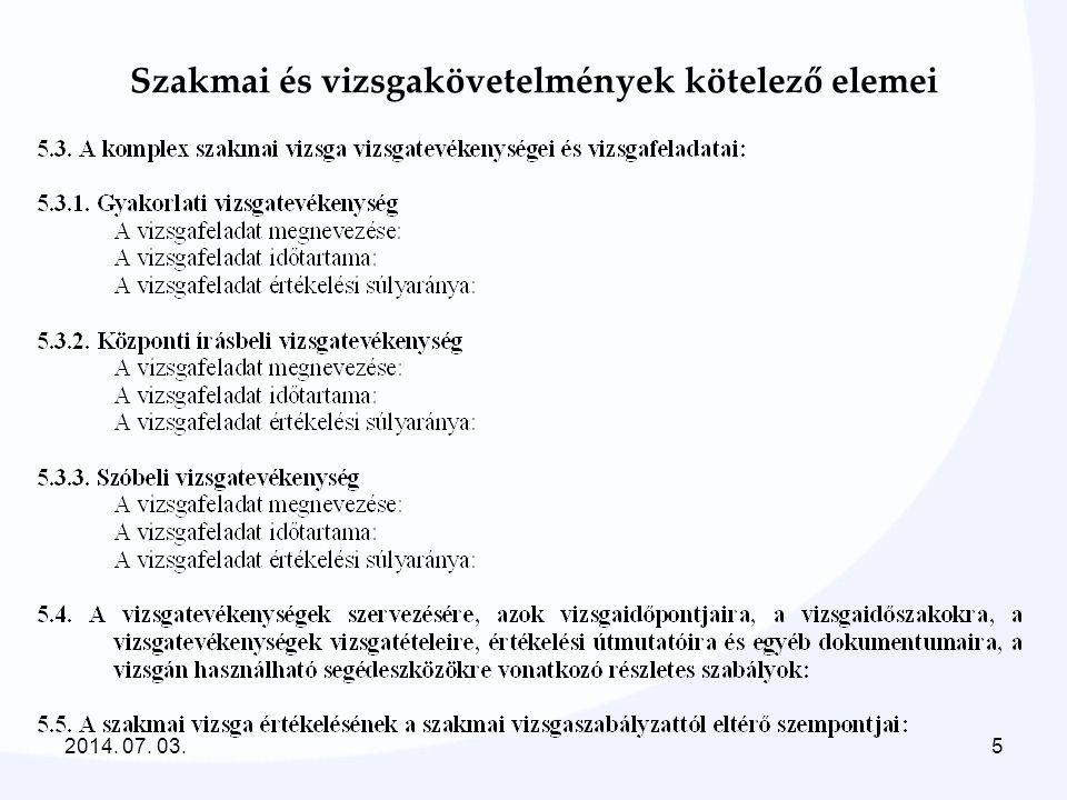 Szakmai és vizsgakövetelmények kötelező elemei 2014. 07. 03.5