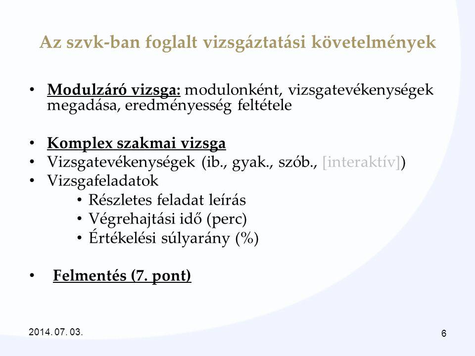 Komplex vizsga – modulos vizsga jellemzői KomplexModulos Komplex vizsgaModulonként (vizsgarészenkénti vizsga) 3 féle vizsgatevékenység (gyakorlat kötelező, szóbeli és/vagy írásbeli) 4 féle vizsgatevékenység (írásbeli, interaktív, gyakorlati, szóbeli) Általában 2 napos5+1 napos Felmentés nem adható Felmentésekről a szakmai vizsgabizottság dönt A vizsgabizottság 4 tagú A vizsgabizottság 3 tagú 2014.