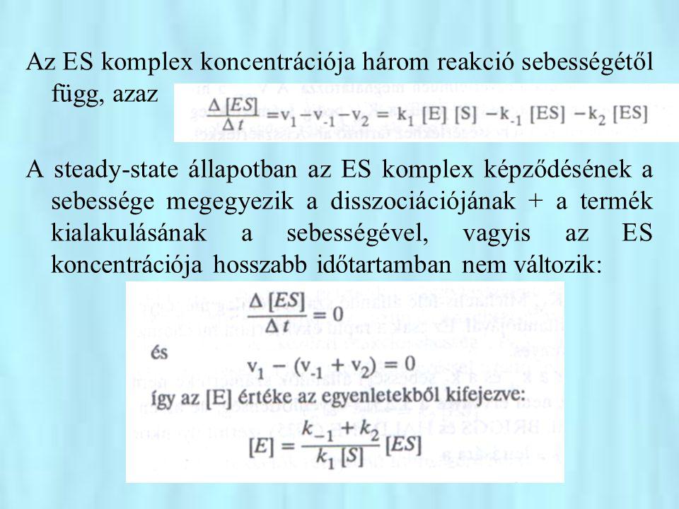 A rapid ekvilibrum esetére végzett levezetés gondolatmenetét követve kapjuk, hogy A nevezőben lévő, sebességi állandókból álló törtet, mint állandót K M -mel jelölve Olyan esetben, amikor az enzimreakció sémája E = S ↔ ES ↔ EP ↔ E+P Akkor a Michaelis-állandó értéke: