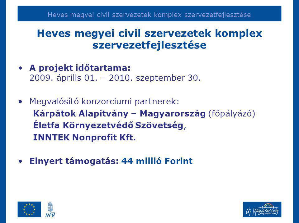 Heves megyei civil szervezetek komplex szervezetfejlesztése •A projekt időtartama: 2009.