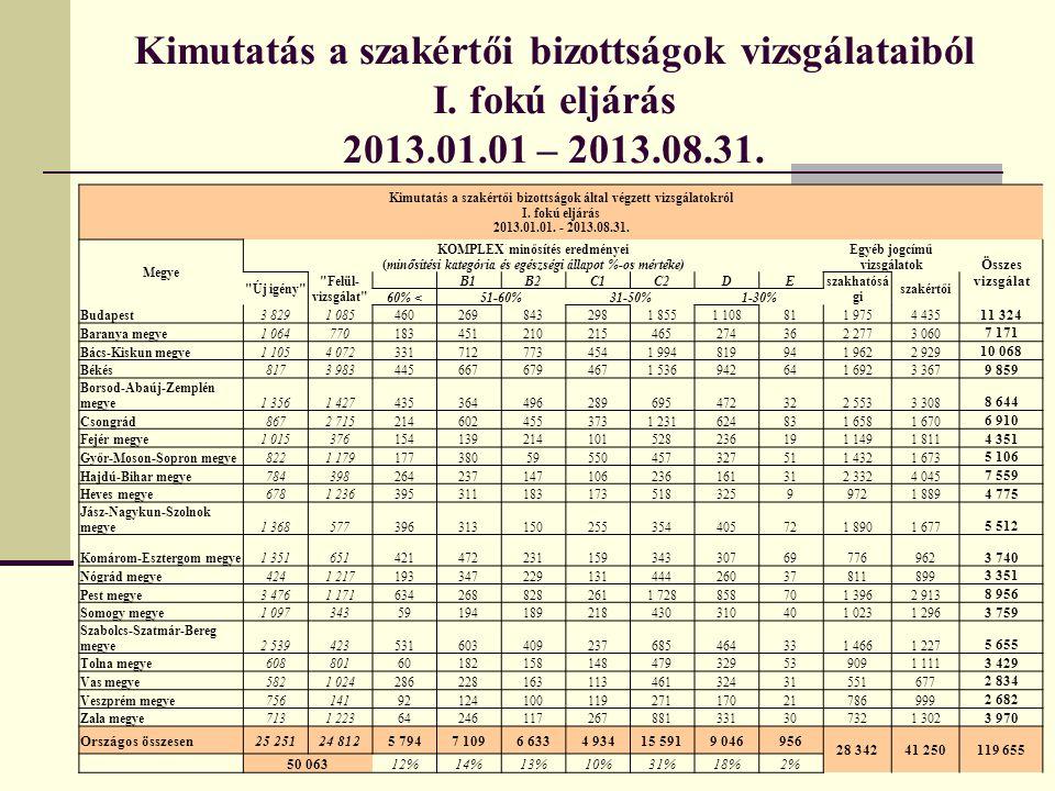 Kimutatás a szakértői bizottságok vizsgálataiból I. fokú eljárás 2013.01.01 – 2013.08.31. Kimutatás a szakértői bizottságok által végzett vizsgálatokr