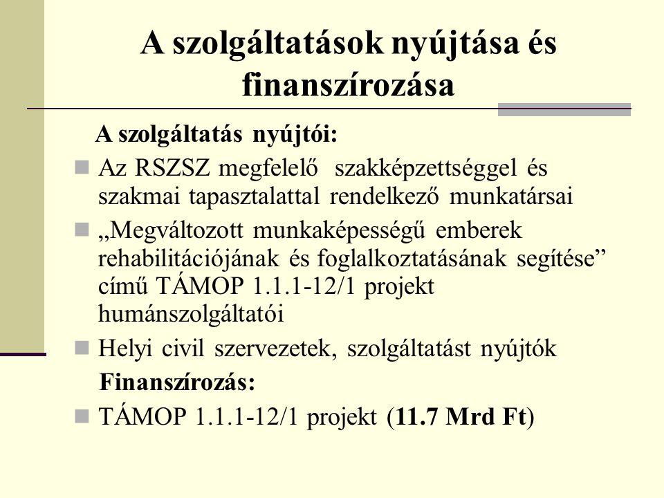 A szolgáltatások nyújtása és finanszírozása A szolgáltatás nyújtói:  Az RSZSZ megfelelő szakképzettséggel és szakmai tapasztalattal rendelkező munkat