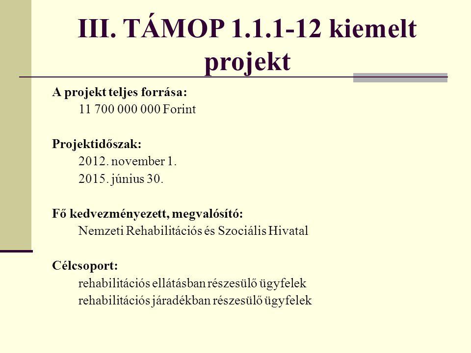 III. TÁMOP 1.1.1-12 kiemelt projekt A projekt teljes forrása: 11 700 000 000 Forint Projektidőszak: 2012. november 1. 2015. június 30. Fő kedvezményez