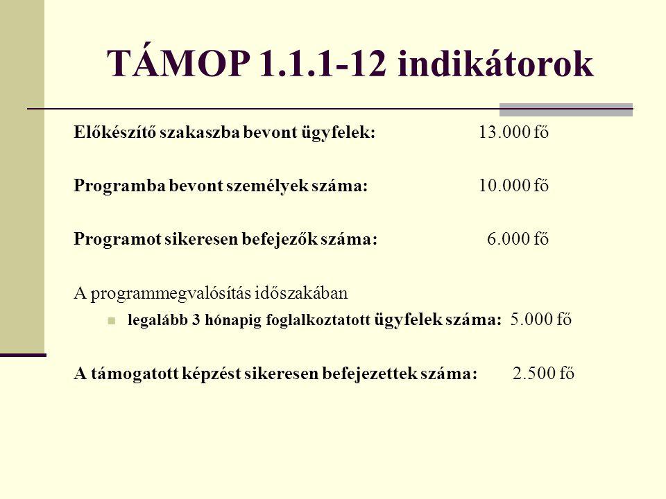 TÁMOP 1.1.1-12 indikátorok Előkészítő szakaszba bevont ügyfelek: 13.000 fő Programba bevont személyek száma: 10.000 fő Programot sikeresen befejezők s