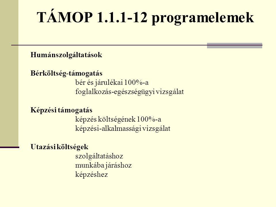 TÁMOP 1.1.1-12 programelemek Humánszolgáltatások Bérköltség-támogatás bér és járulékai 100%-a foglalkozás-egészségügyi vizsgálat Képzési támogatás kép