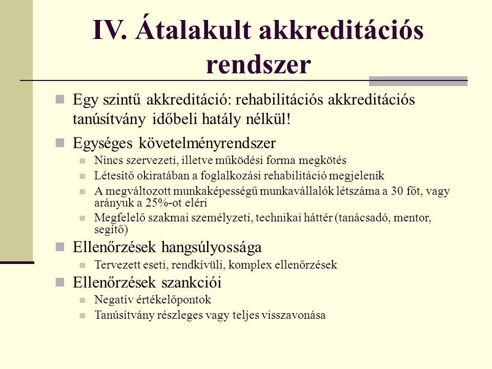 IV. Átalakult akkreditációs rendszer  Egy szintű akkreditáció: rehabilitációs akkreditációs tanúsítvány időbeli hatály nélkül!  Egységes követelmény