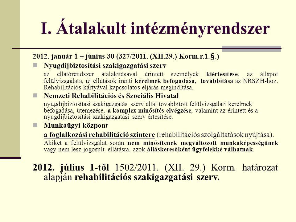 I. Átalakult intézményrendszer 2012. január 1 – június 30 (327/2011. (XII.29.) Korm.r.1.§.)  Nyugdíjbiztosítási szakigazgatási szerv az ellátórendsze