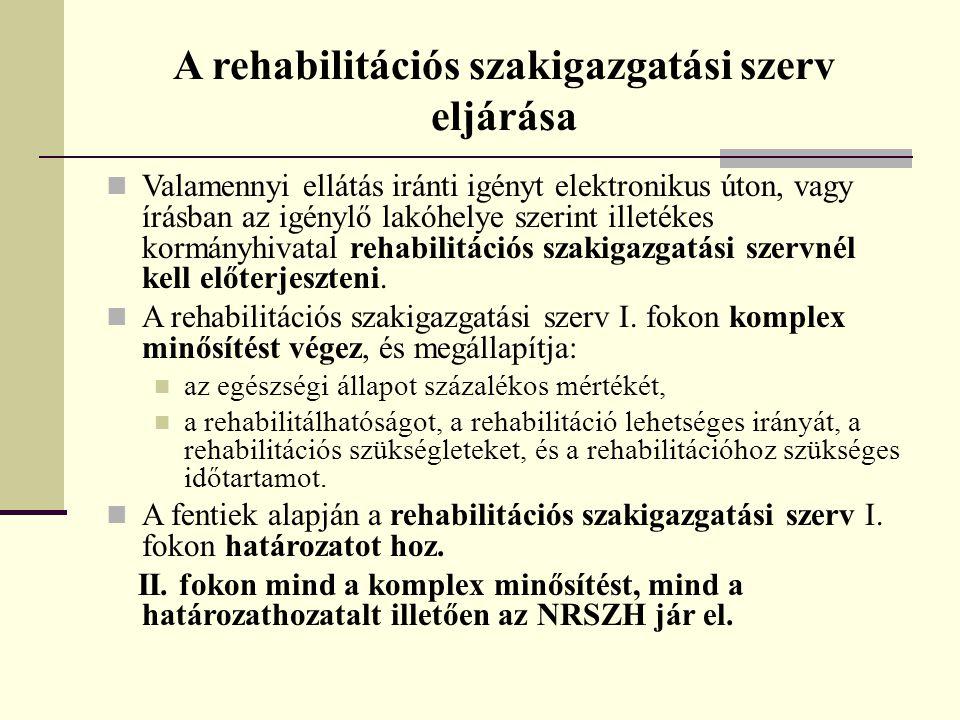 A rehabilitációs szakigazgatási szerv eljárása  Valamennyi ellátás iránti igényt elektronikus úton, vagy írásban az igénylő lakóhelye szerint illeték
