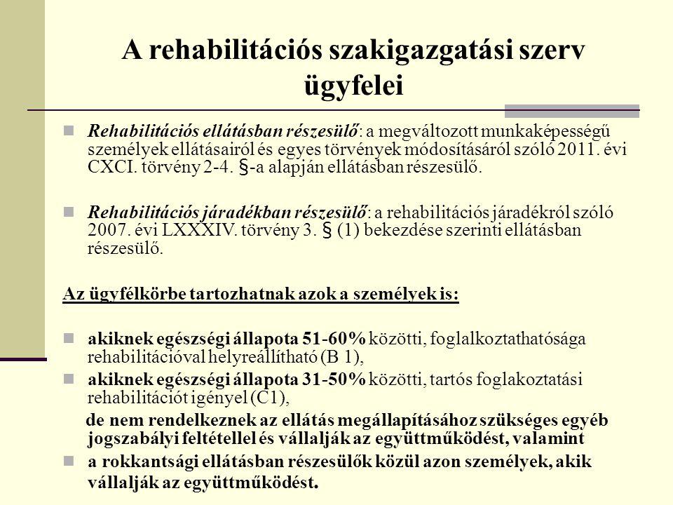 A rehabilitációs szakigazgatási szerv ügyfelei  Rehabilitációs ellátásban részesülő: a megváltozott munkaképességű személyek ellátásairól és egyes tö
