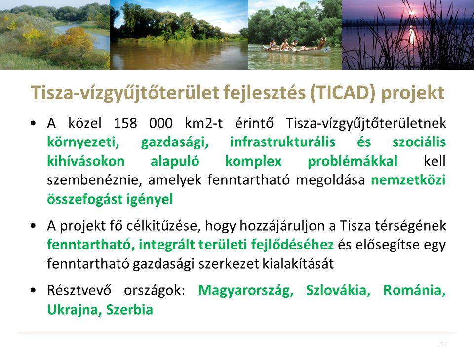 Tisza-vízgyűjtőterület fejlesztés (TICAD) projekt •A közel 158 000 km2-t érintő Tisza-vízgyűjtőterületnek környezeti, gazdasági, infrastrukturális és szociális kihívásokon alapuló komplex problémákkal kell szembenéznie, amelyek fenntartható megoldása nemzetközi összefogást igényel •A projekt fő célkitűzése, hogy hozzájáruljon a Tisza térségének fenntartható, integrált területi fejlődéséhez és elősegítse egy fenntartható gazdasági szerkezet kialakítását •Résztvevő országok: Magyarország, Szlovákia, Románia, Ukrajna, Szerbia 17