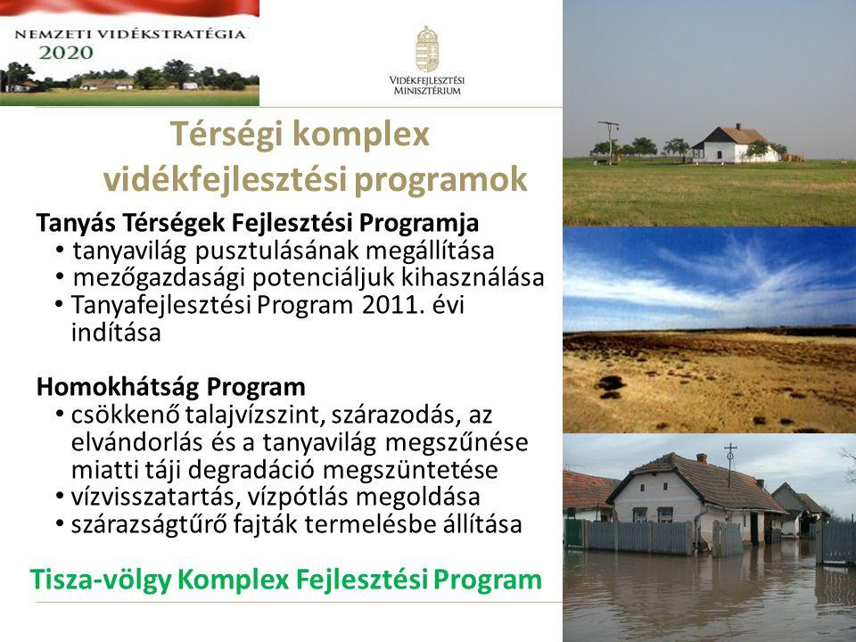 Térségi komplex vidékfejlesztési programok Tanyás Térségek Fejlesztési Programja • tanyavilág pusztulásának megállítása • mezőgazdasági potenciáljuk kihasználása • Tanyafejlesztési Program 2011.