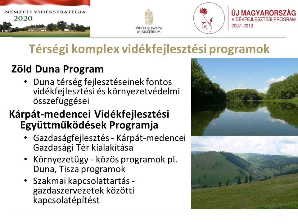 Térségi komplex vidékfejlesztési programok Zöld Duna Program • Duna térség fejlesztéseinek fontos vidékfejlesztési és környezetvédelmi összefüggései Kárpát-medencei Vidékfejlesztési Együttműködések Programja • Gazdaságfejlesztés - Kárpát-medencei Gazdasági Tér kialakítása • Környezetügy - közös programok pl.