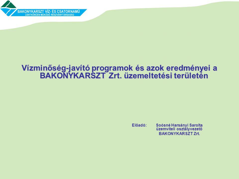 Vízminőség-javító programok és azok eredményei a BAKONYKARSZT Zrt. üzemeltetési területén Előadó: Soósné Harsányi Sarolta üzemviteli osztályvezető BAK