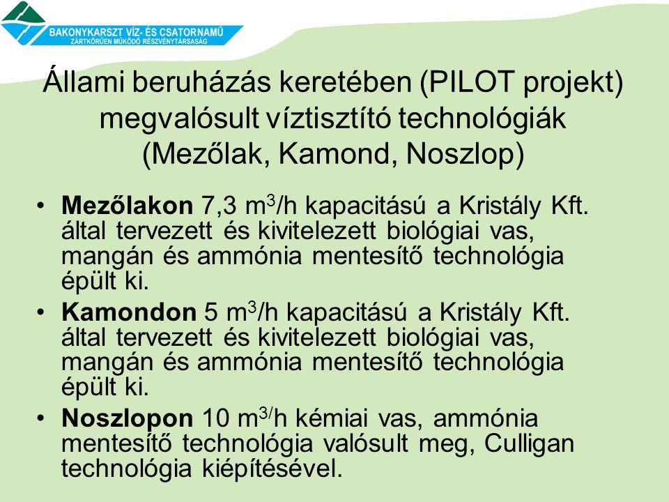 Állami beruházás keretében (PILOT projekt) megvalósult víztisztító technológiák (Mezőlak, Kamond, Noszlop) •Mezőlakon 7,3 m 3 /h kapacitású a Kristály