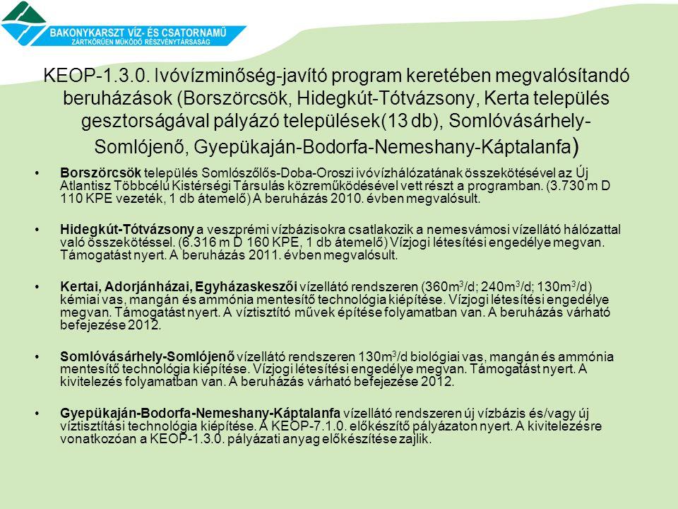 KEOP-1.3.0. Ivóvízminőség-javító program keretében megvalósítandó beruházások (Borszörcsök, Hidegkút-Tótvázsony, Kerta település gesztorságával pályáz