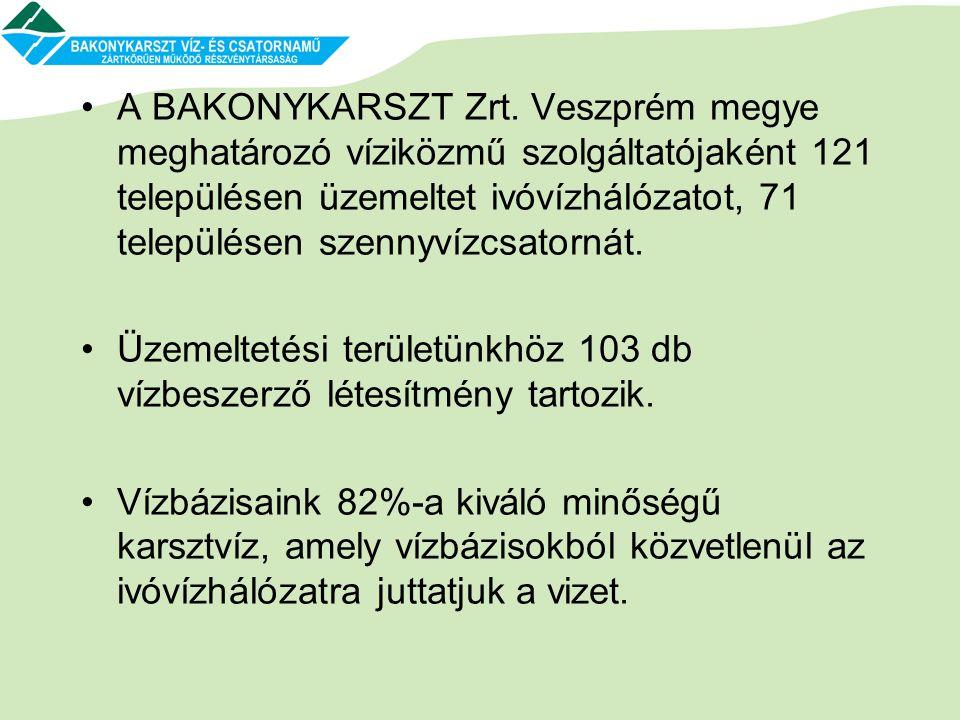 •A BAKONYKARSZT Zrt. Veszprém megye meghatározó víziközmű szolgáltatójaként 121 településen üzemeltet ivóvízhálózatot, 71 településen szennyvízcsatorn